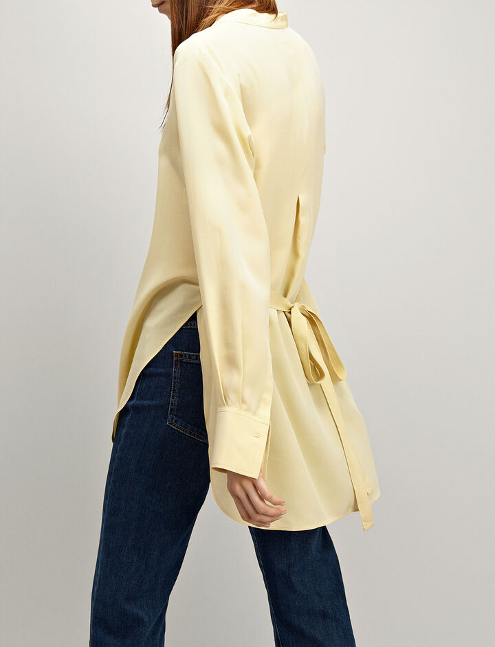 Crepe de Chine Carla Blouse, in CUSTARD, large | on Joseph