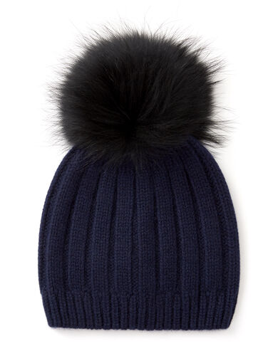 Cashmere Luxe Pompon Hat, in NAVY, large | on Joseph