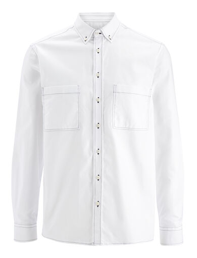 Oxford Shirting Coates Shirt, in WHITE, large | on Joseph