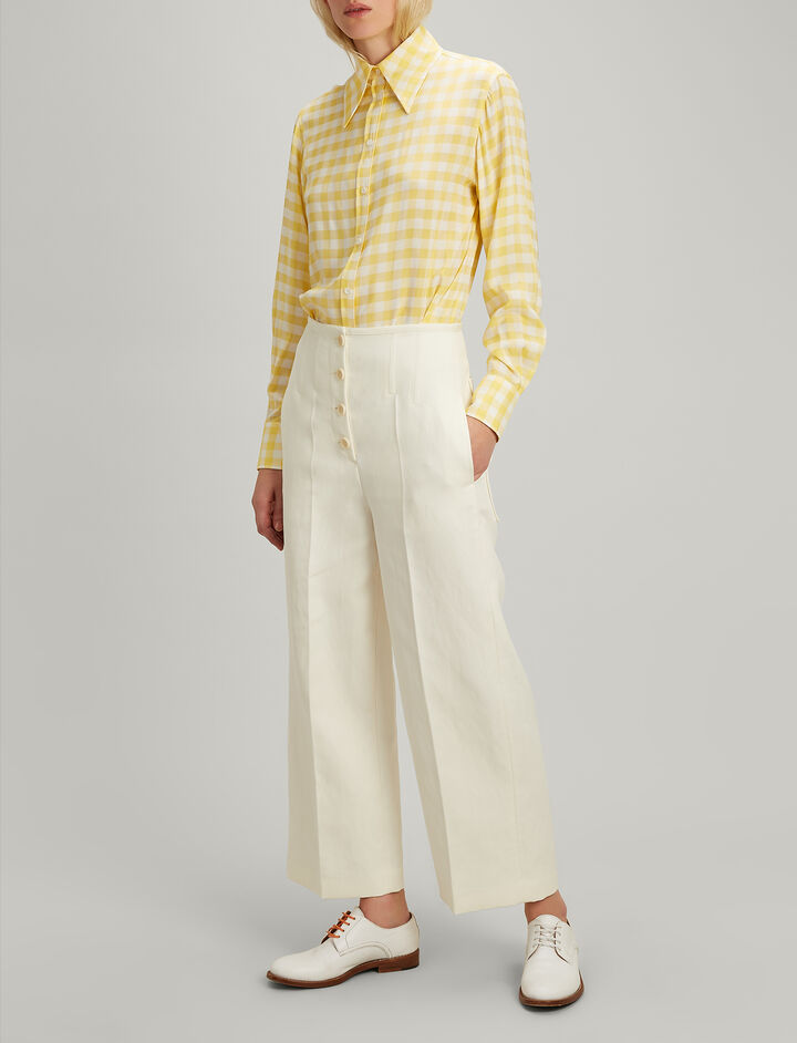 Ramie Cotton Brod Trousers, in ECRU, large | on Joseph
