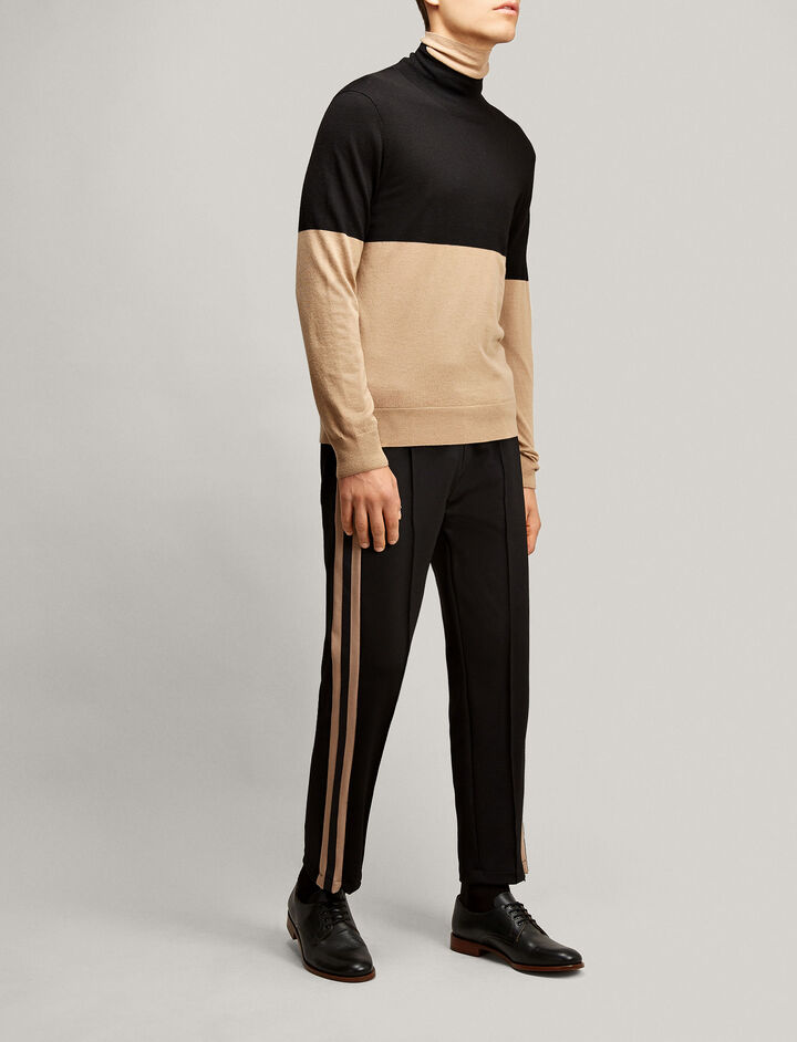 Joseph, High Neck Merinos Novelty Knit, in BLACK/CAMEL
