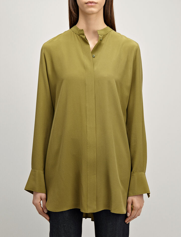 Crepe de Chine Carla Blouse, in PEA, large | on Joseph