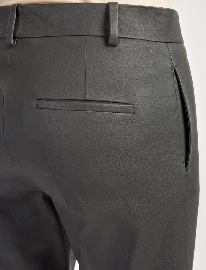 Leather Stretch Zoom Trousers, in GRAPHITE, large | on Joseph
