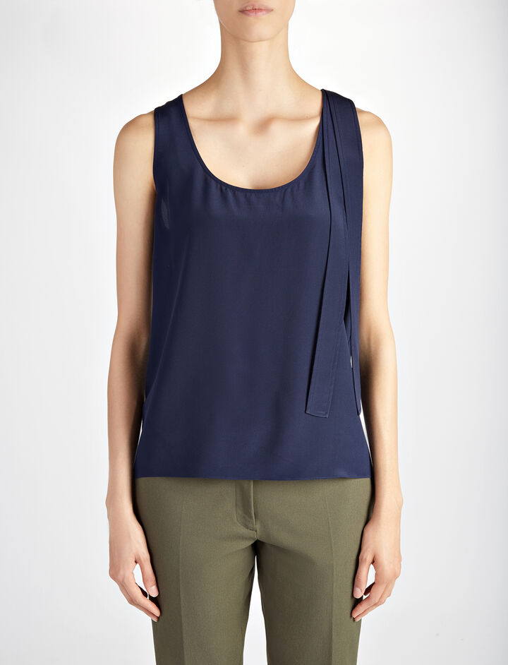Crepe de Chine Tye Blouse, in MARINE, large | on Joseph
