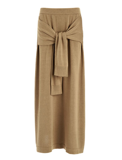 Cotton Tie Skirt, in SAND, large | on Joseph