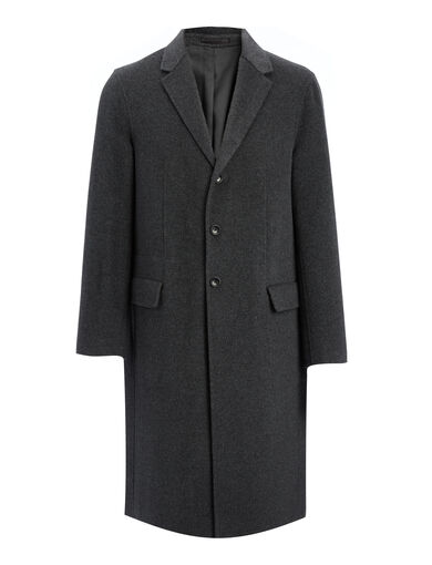 Double Face Cashmere Chestford Coat, in GRAPHITE, large | on Joseph