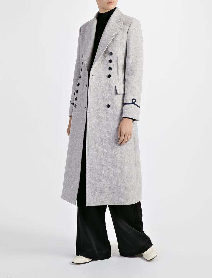 Basket Weave Wool New Jacky Coat, in GREY, large | on Joseph