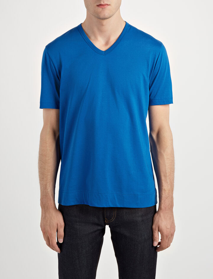 Mercerized Jersey V Neck Tee, in SAPHIRE, large | on Joseph