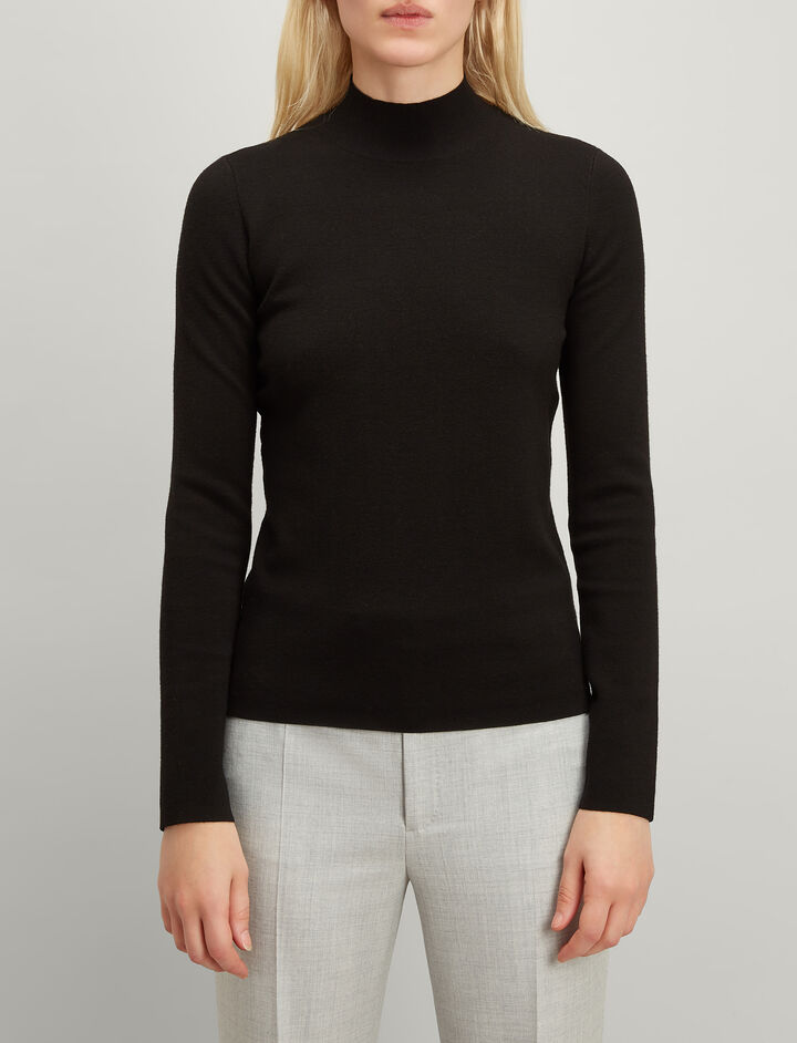 Superfine Merinos High Neck Sweater, in BLACK, large | on Joseph