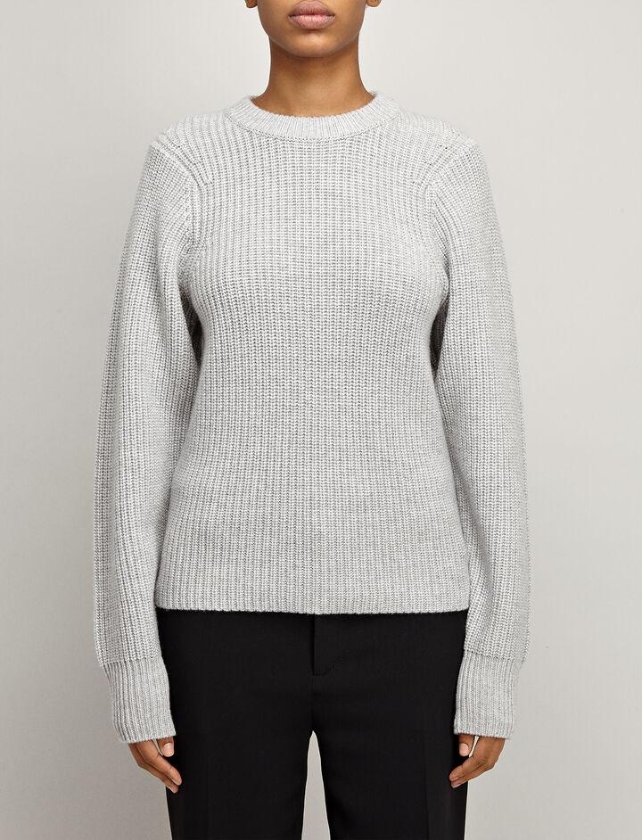Purl Stitck Crew Neck Sweater, in GREY CHINE, large | on Joseph
