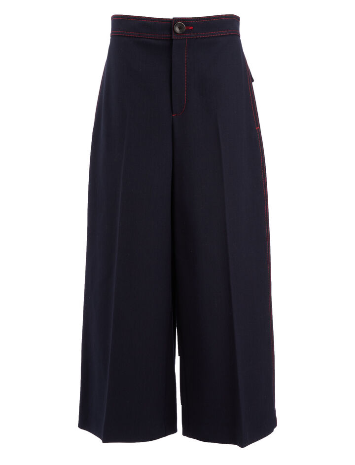Cotton Wool Twill Fitz Trousers, in NAVY, large | on Joseph