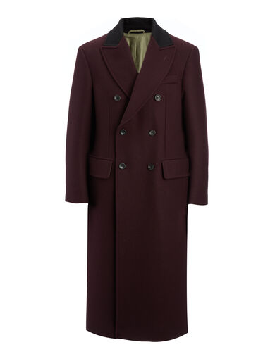 Bonded Cover Twill Glastonbury Coat, in BURGUNDY, large | on Joseph