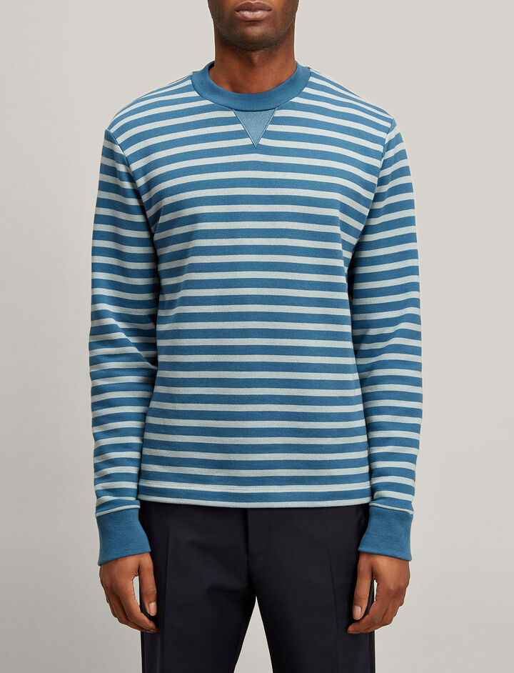 Stripe Jersey Sweatshirt, in AEGEAN/ETON, large | on Joseph