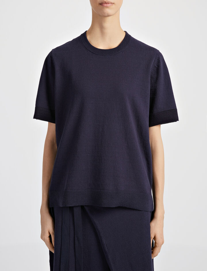 Calico Knit Top, in NAVY, large | on Joseph