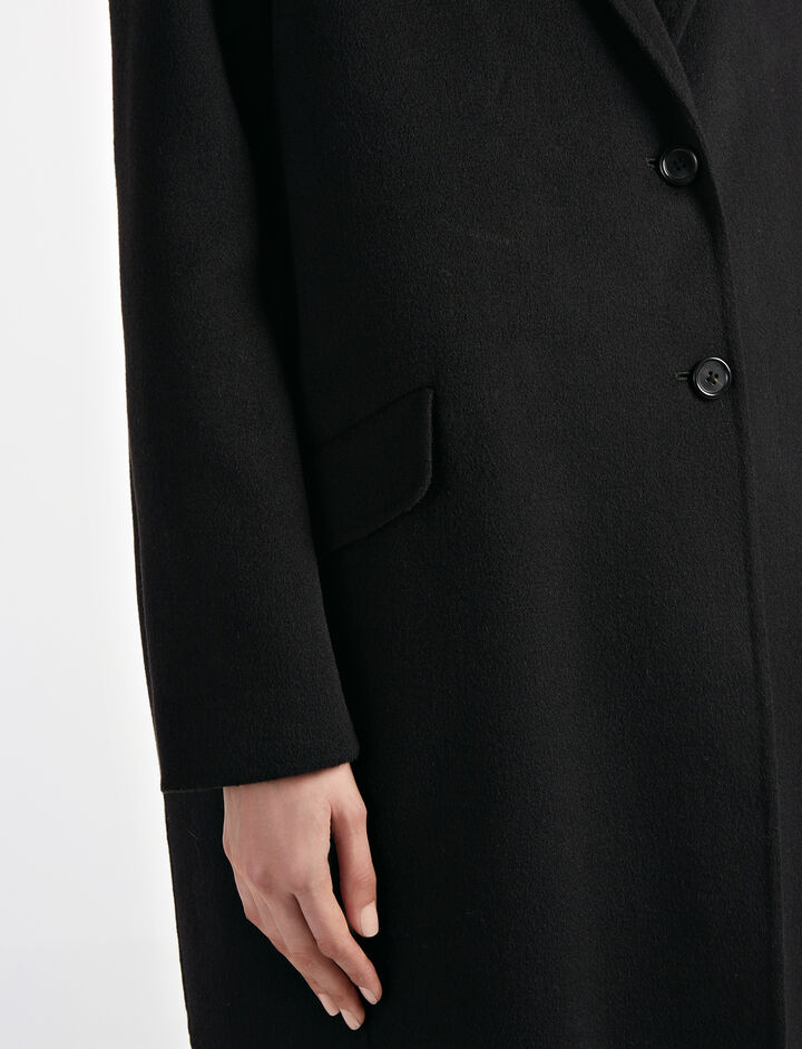 Light Double Cashmere Sido Short Coat, in BLACK, large | on Joseph