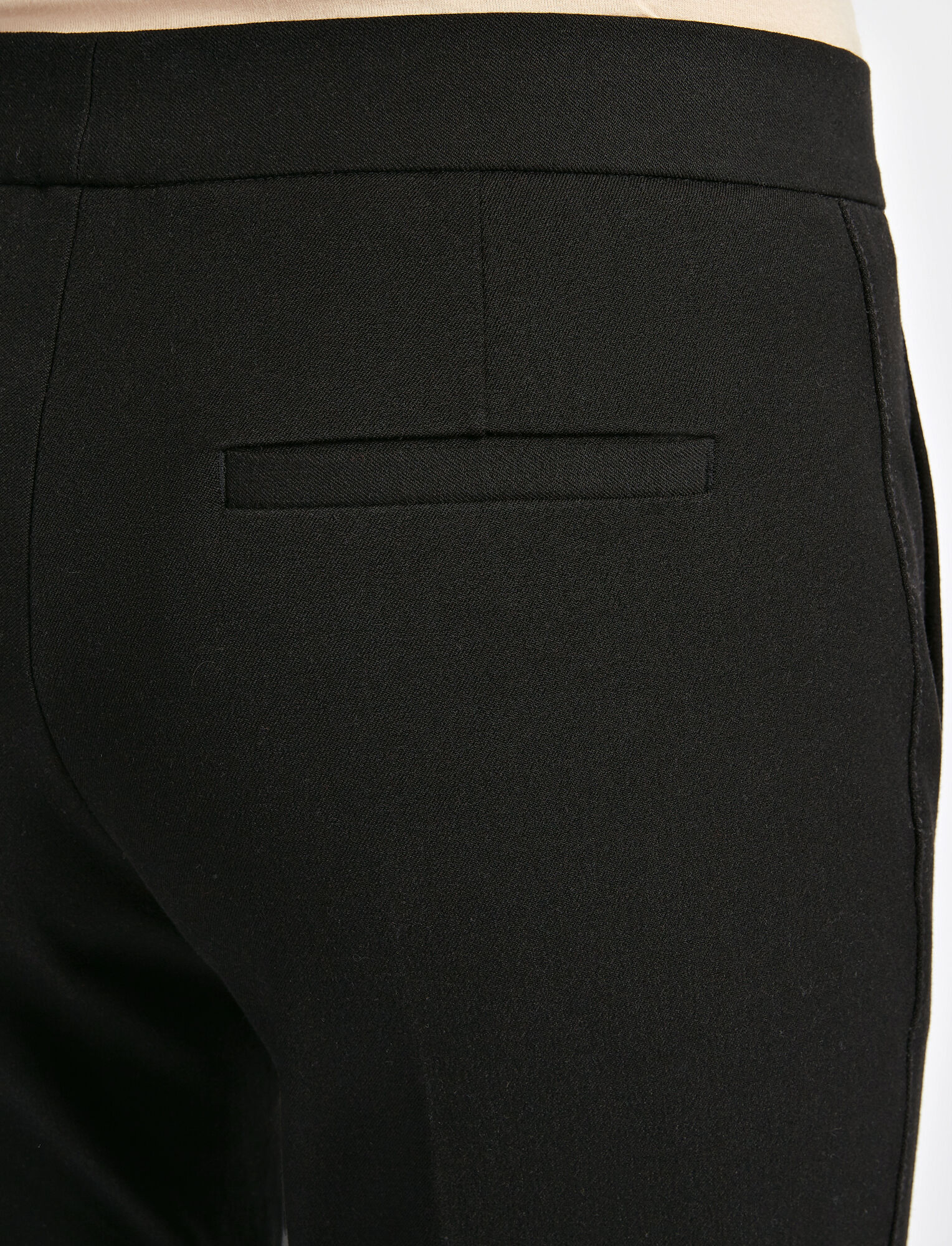 Gabardine Stretch Finley Button Trouser, in BLACK, large | on Joseph