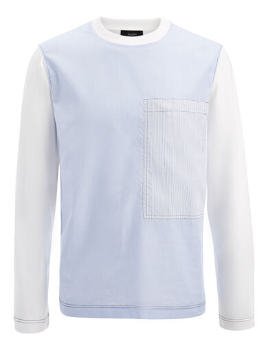 Workwear Stripes Jersey Top, in SKY BLUE, large | on Joseph