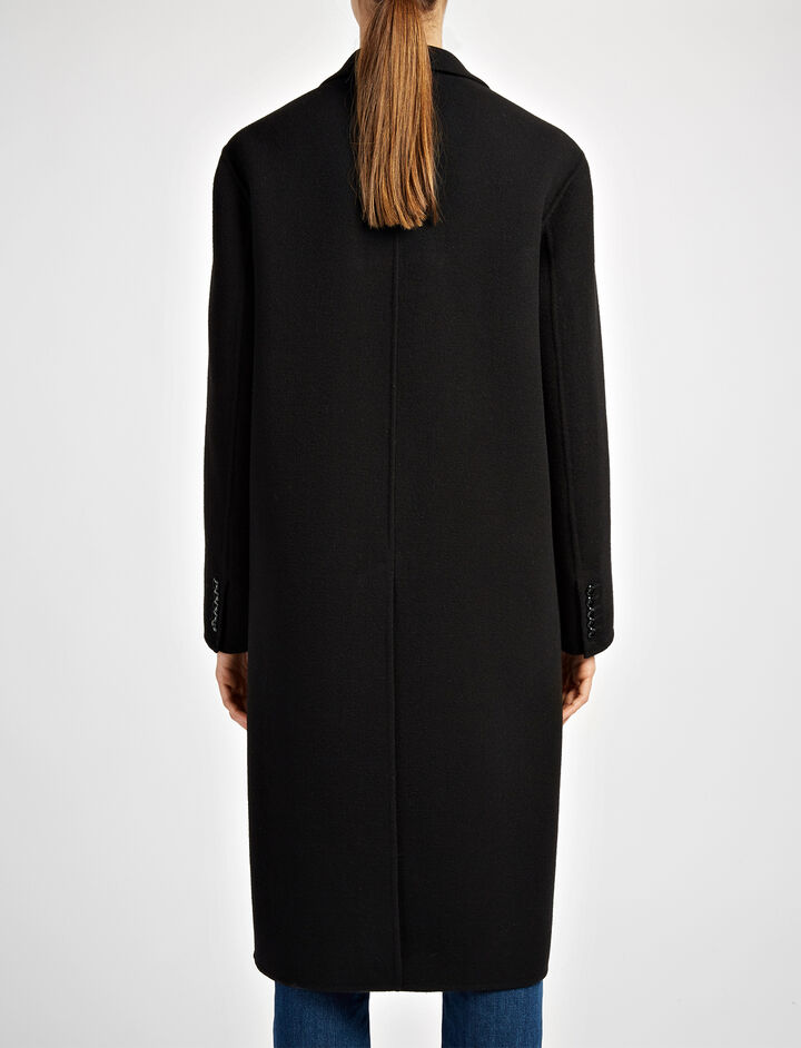 Double Face Wool Simo Coat, in BLACK, large | on Joseph