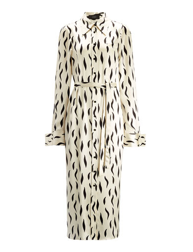 Zebra Cassidy Long Dress, in ECRU/BLACK, large | on Joseph