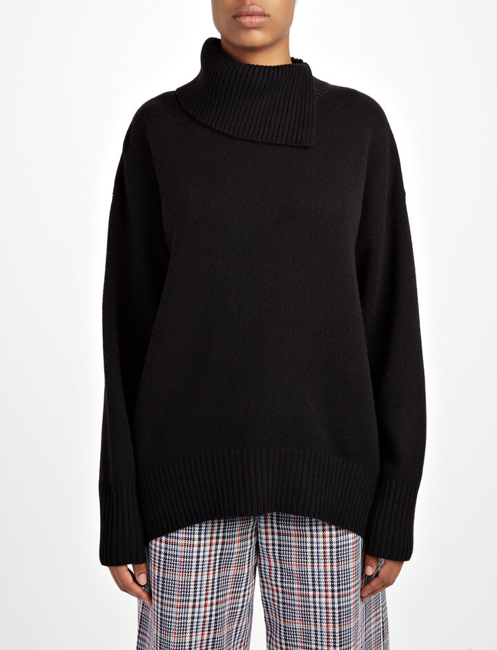 Soft Wool High Neck Sweater, in BLACK, large | on Joseph