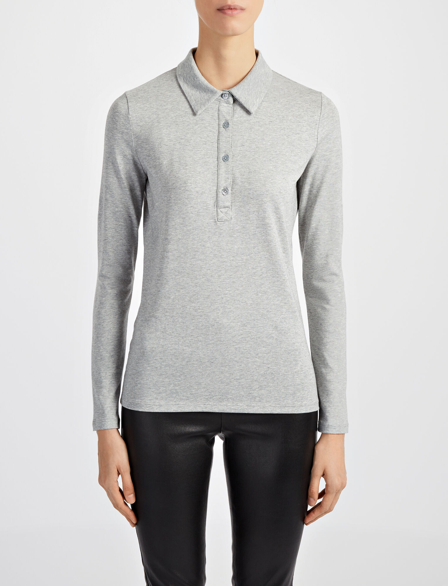 Joseph, Cotton Lyocell Stretch Polo, in GREY CHINE