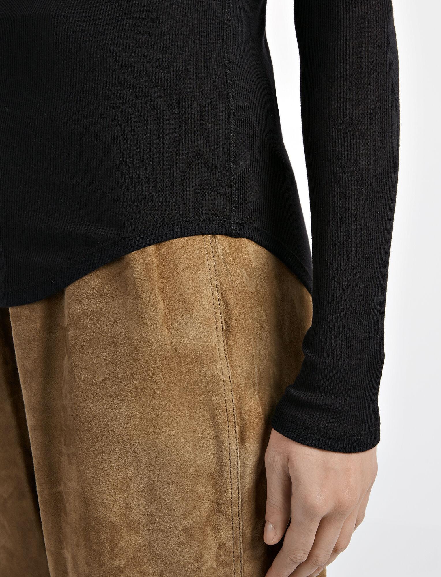 Joseph, Cotton Cashmere Rib Top, in BLACK