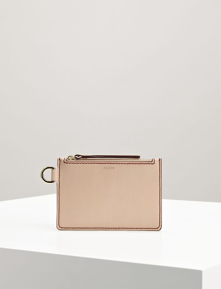 Calf Leather Pouch, in PALE PINK, large | on Joseph