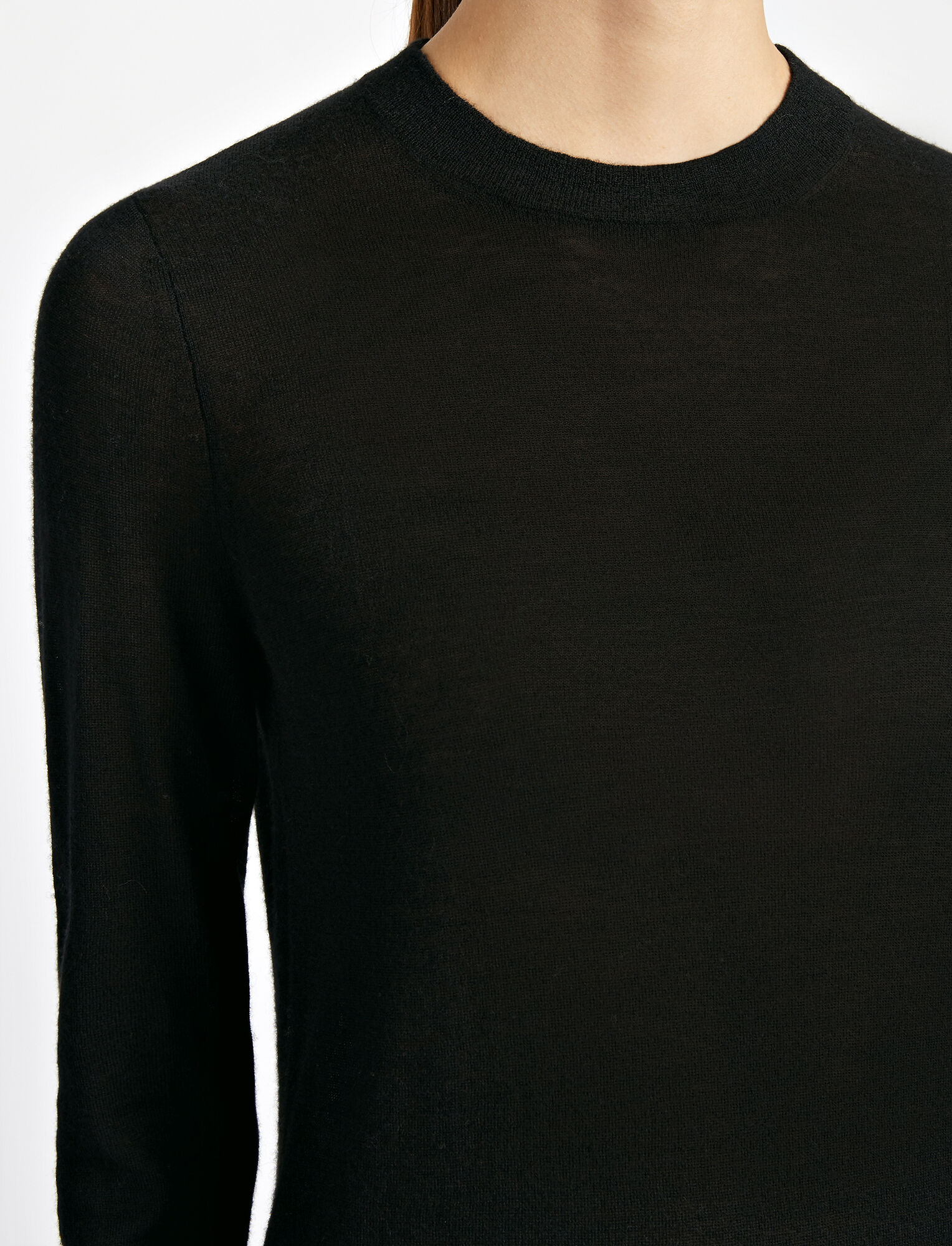Fitted Cashair Sweater, in BLACK, large | on Joseph