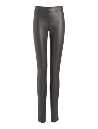 Legging en cuir stretch, in GRAPHITE, large | on Joseph
