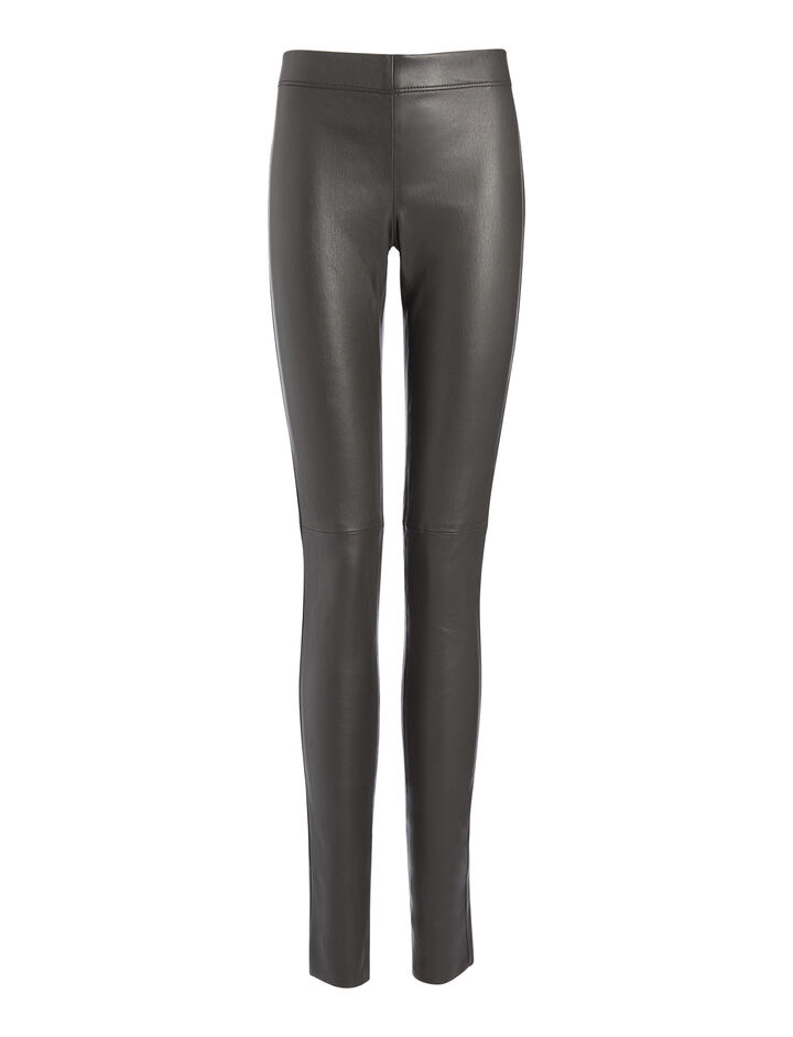 Leather Stretch Leggings, in GRAPHITE, large | on Joseph