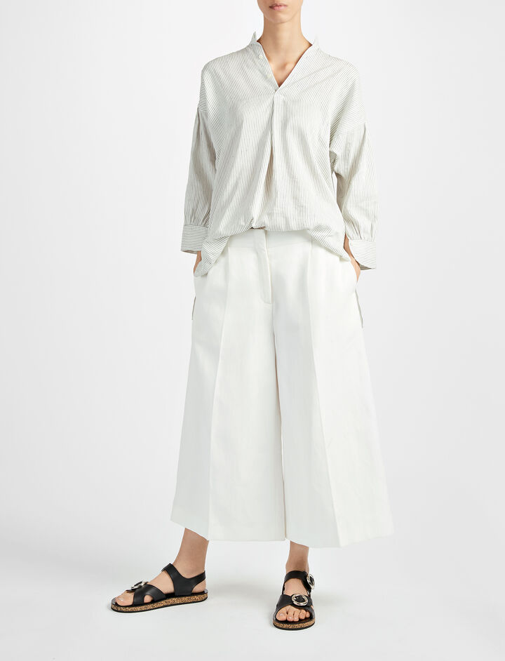 Ramie Cotton Mika Trouser, in OFF WHITE, large | on Joseph