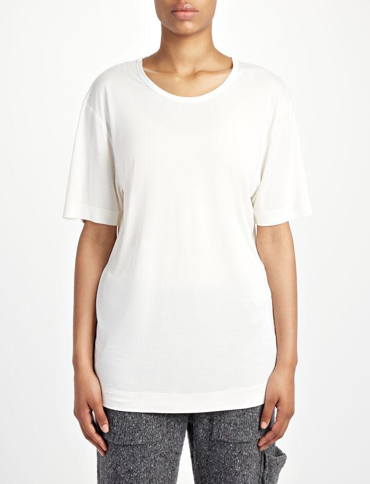 Joseph, Tee-shirt col rond en jersey de soie, in WHITE