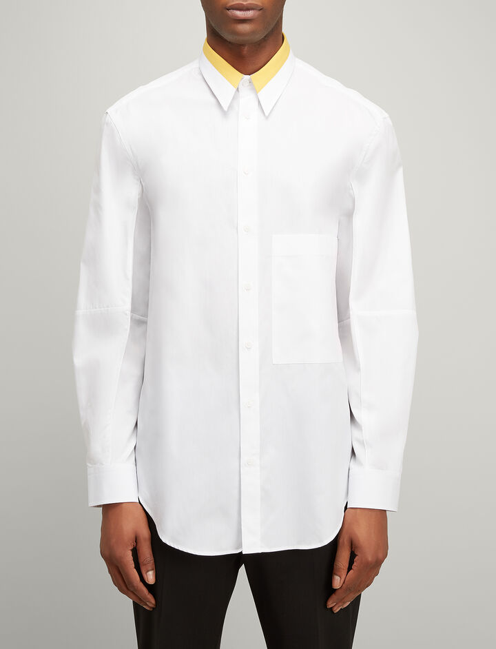 Joseph, Bi Colour Poplin Lake Shirt, in WHITE