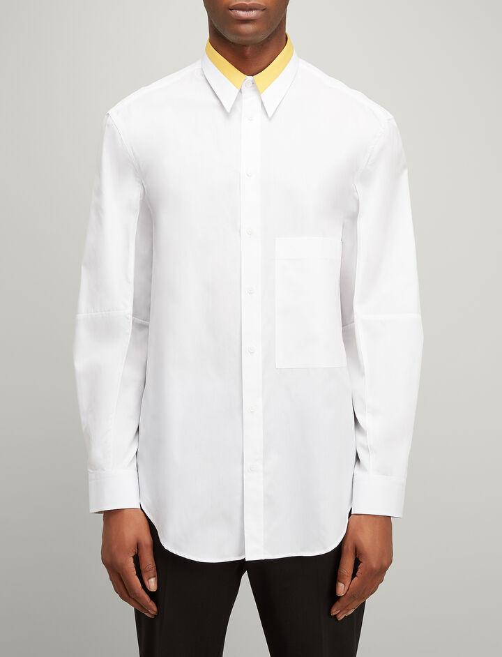Bi Colour Poplin Lake Shirt, in WHITE, large | on Joseph