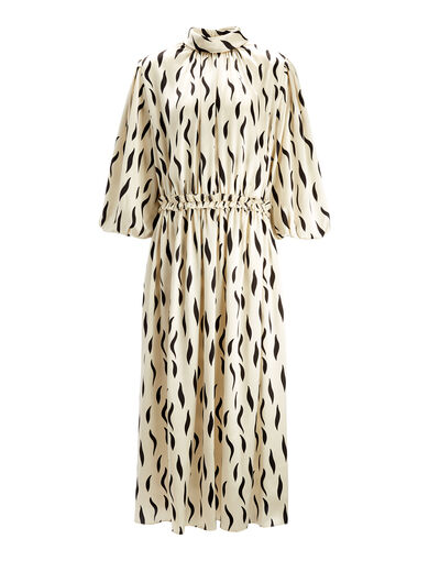 Zebra Owen Long Dress, in ECRU/BLACK, large | on Joseph