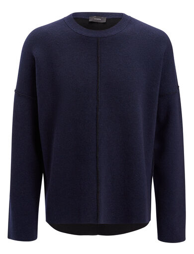 Double Face Knit Sweater, in NAVY/Black, large | on Joseph
