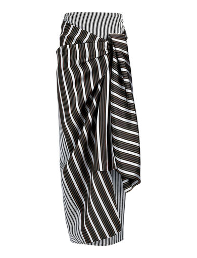 Viscose Stripe Fran Skirt, in BLACK, large | on Joseph