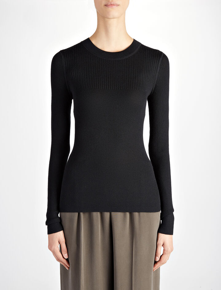 Joseph, Wool Silk Cashmere Rib Top, in BLACK