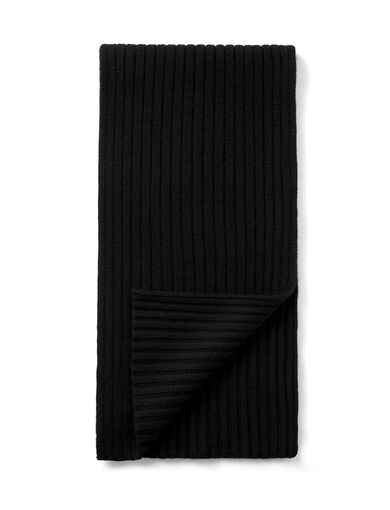 Cashmere Luxe Rib Scarf, in BLACK, large | on Joseph