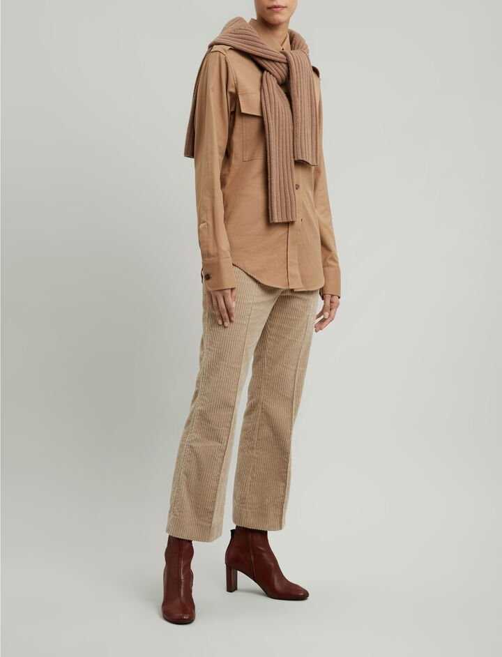 Joseph, Rainer Flannel Shirting Blouse, in CAMEL