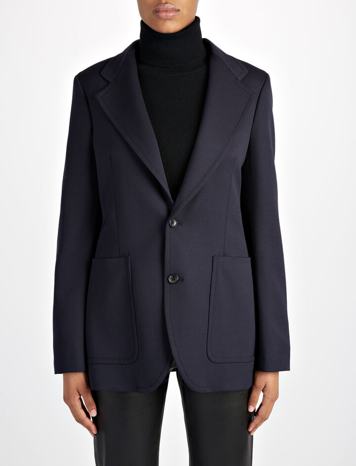 Stretch Wool Albert Jacket, in NAVY, large | on Joseph