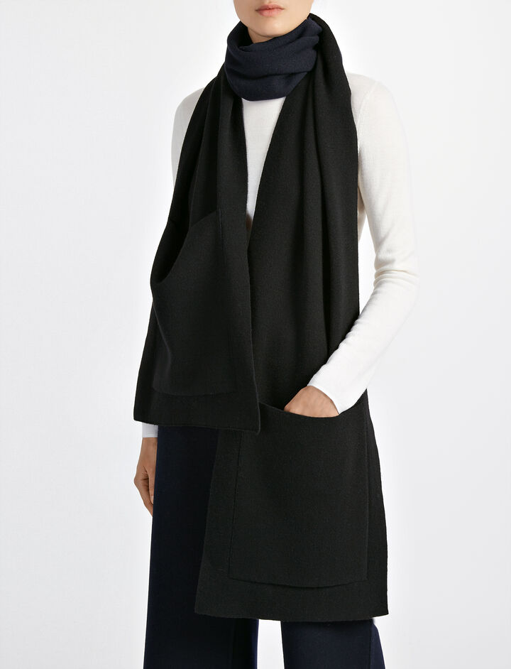 Bonded Wool Cashmere Pocket Scarf, in BLACK, large | on Joseph