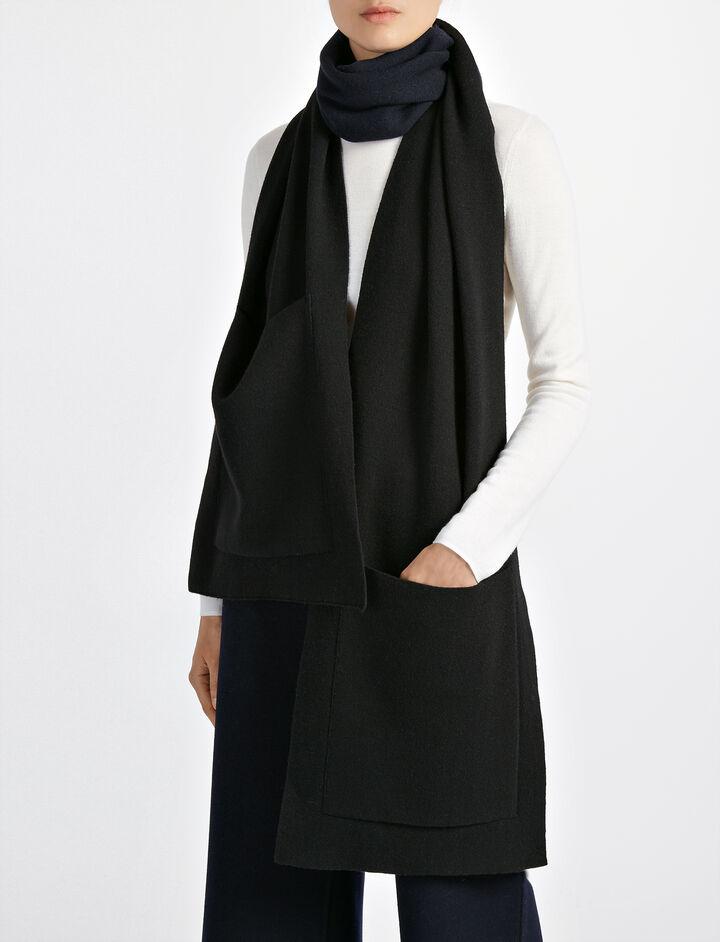Bonded Wool Cashmere Pocket Scarf, in BLACK, large | on Joseph