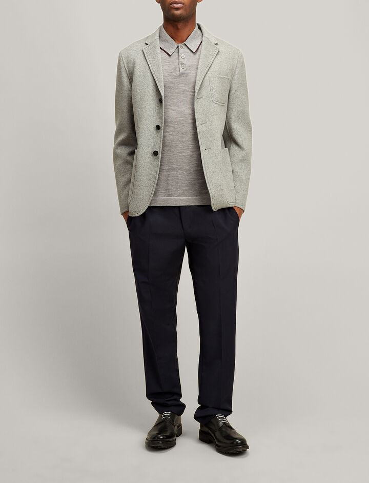 Joseph, Double Wool Kerby Jacket, in GREY CHINE