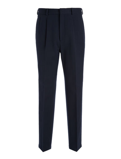 Cotton Wool Twill Kennet Cropped Trousers, in NAVY, large | on Joseph