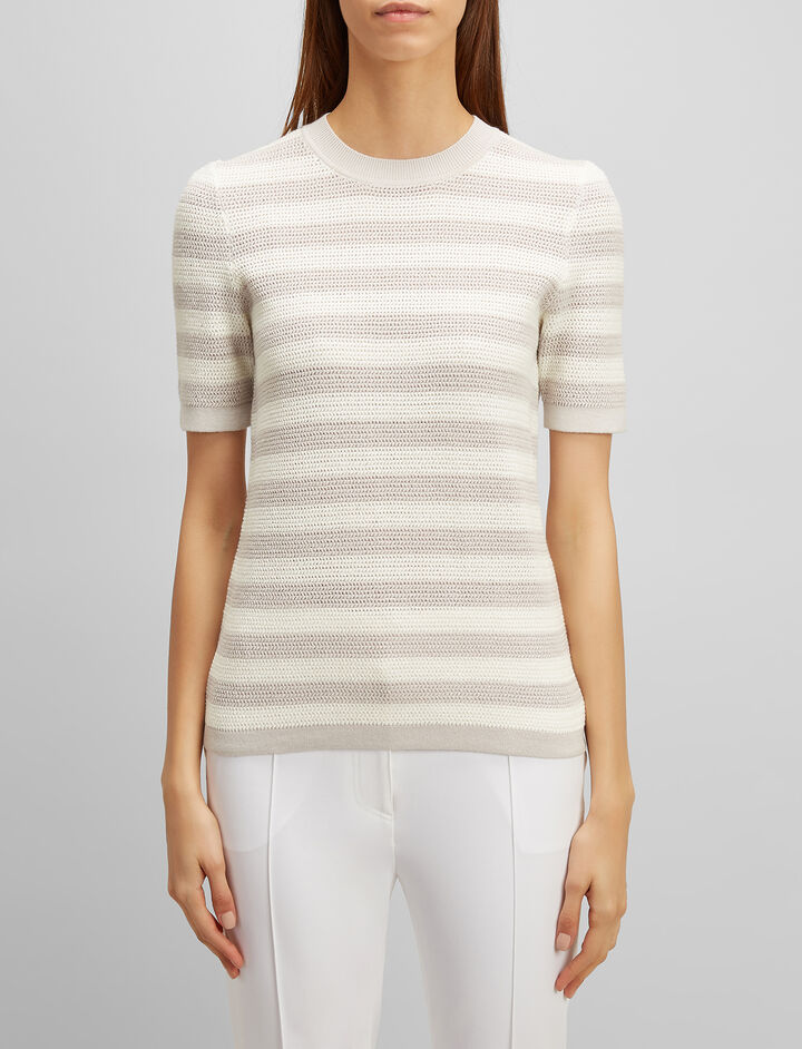 Joseph, Cotton Pique Stripe Tee, in DOVE