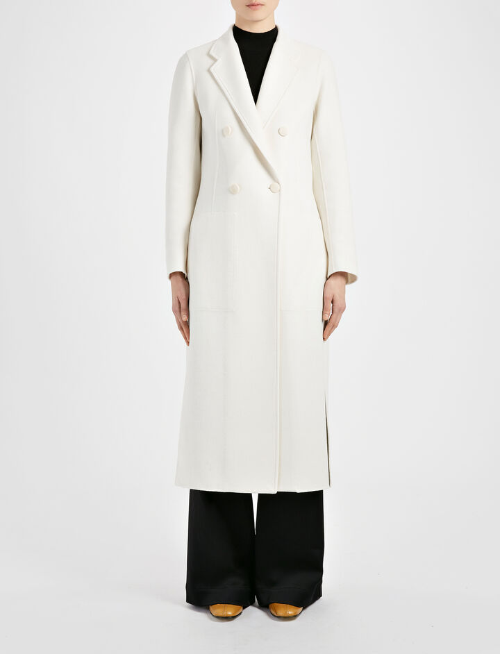 Manteau Bailey en double cachemire, in CHALK, large | on Joseph