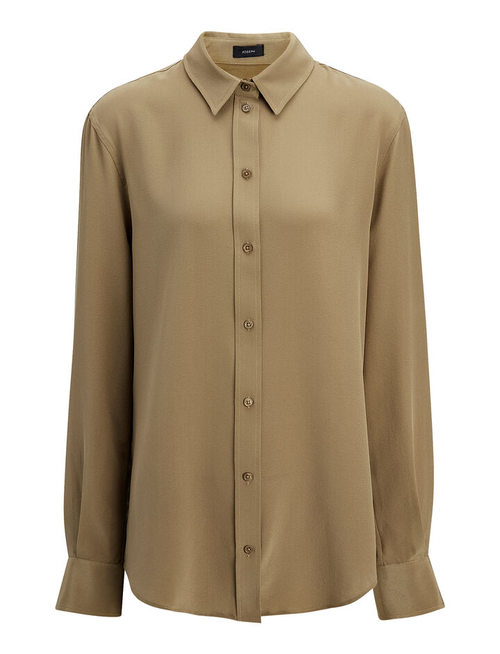 Crepe de Chine New Garcon Blouse, in ARMY, large | on Joseph