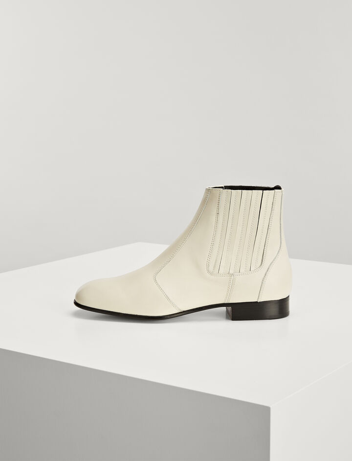Bottines Pixie Cuir de Veau, in WHITE, large | on Joseph