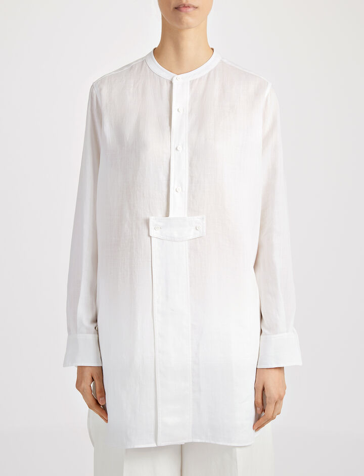 Ramie Voile Bernie Blouse, in WHITE, large | on Joseph